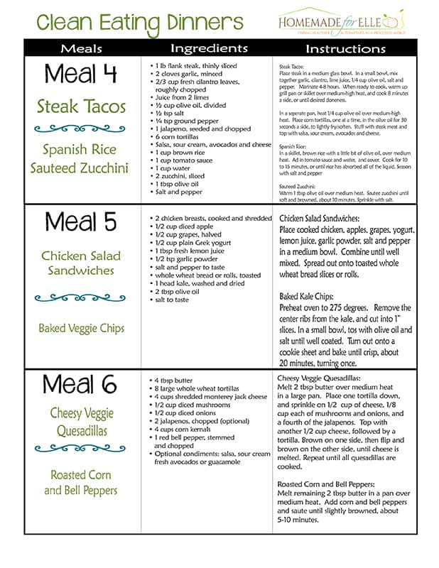 Free Clean Eating Meal Plan | Homemadeforelle.com