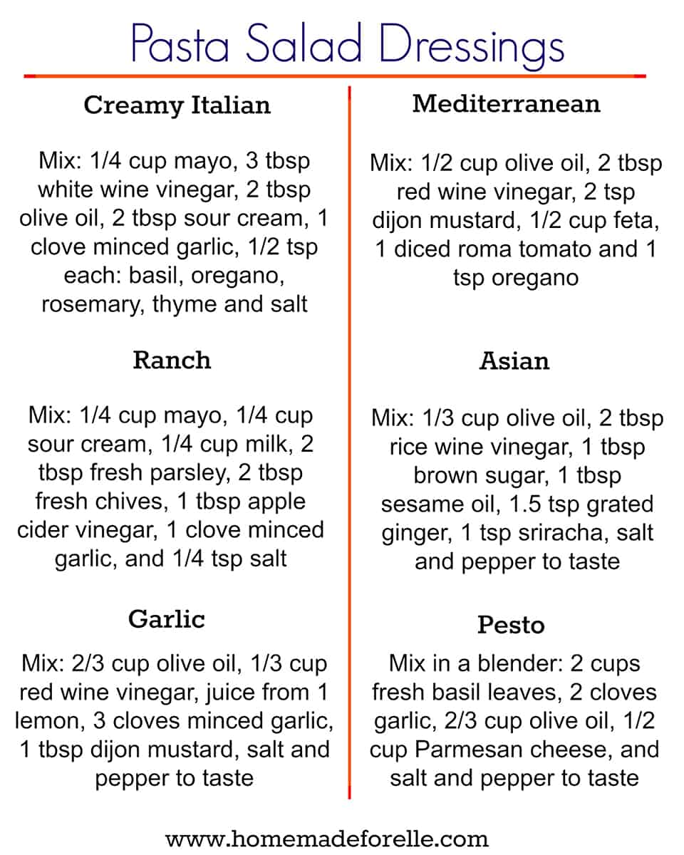 Easy Pasta Salad Dressing Recipes Homemade For Elle