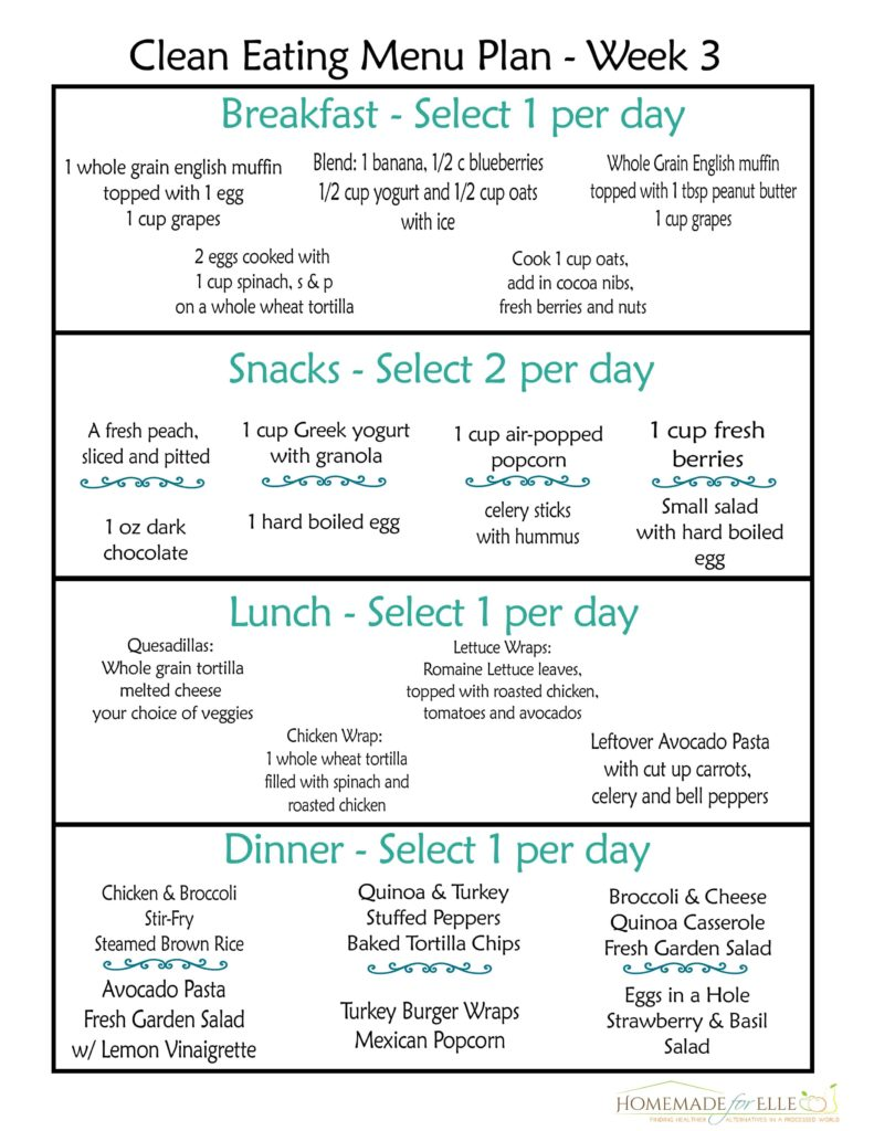 Clean Eating Meal Plan PDF | homemadeforelle.com