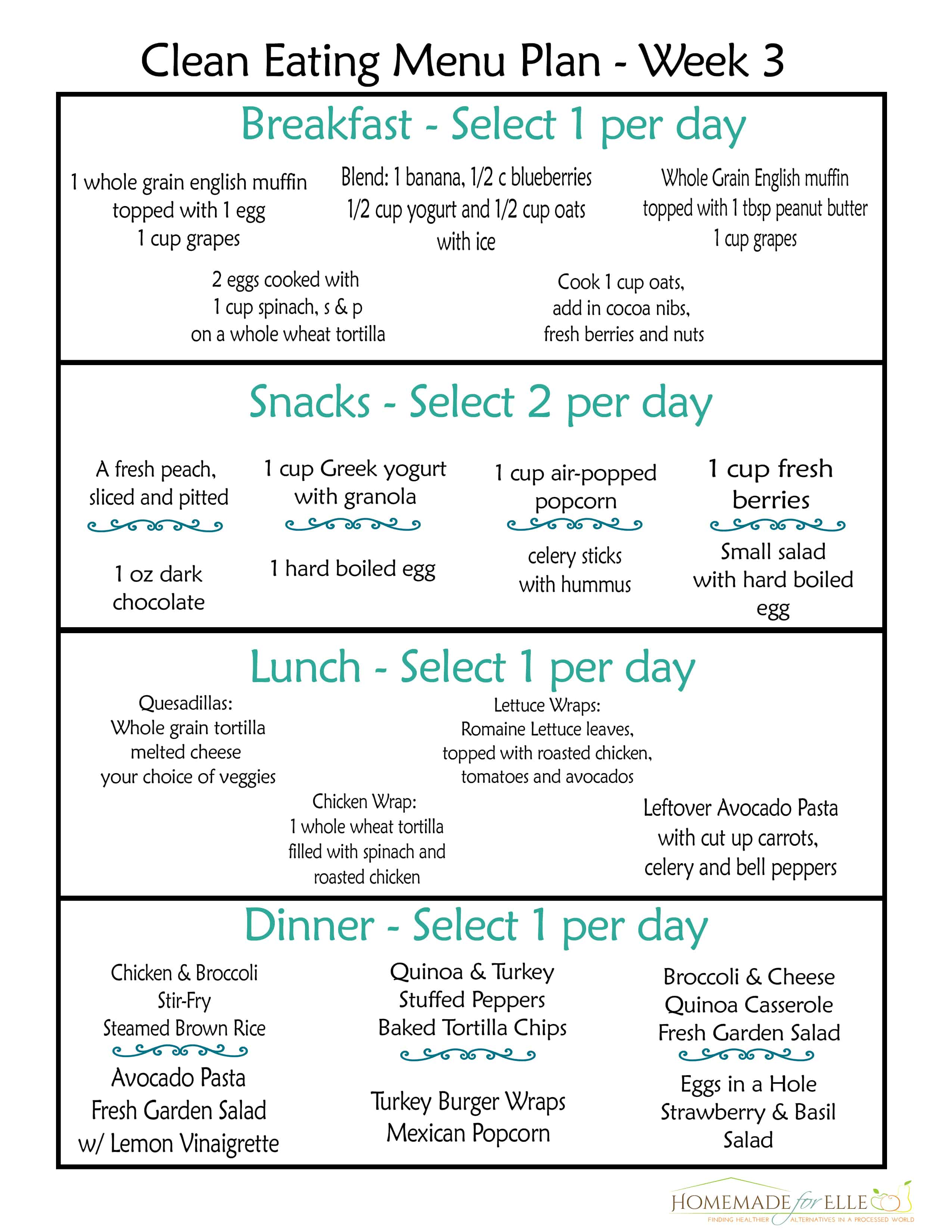 Free Clean Eating Meal Plan {with recipes your family will love!}