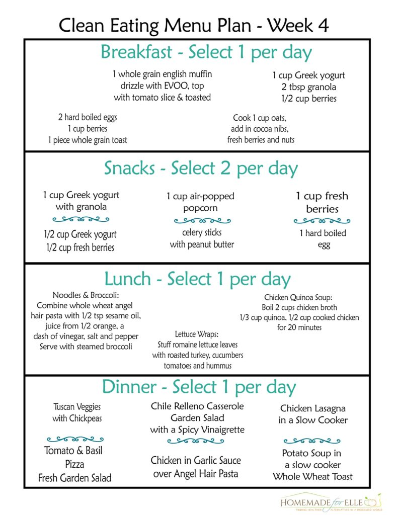 Clean Eating Meal Plan - Week 4