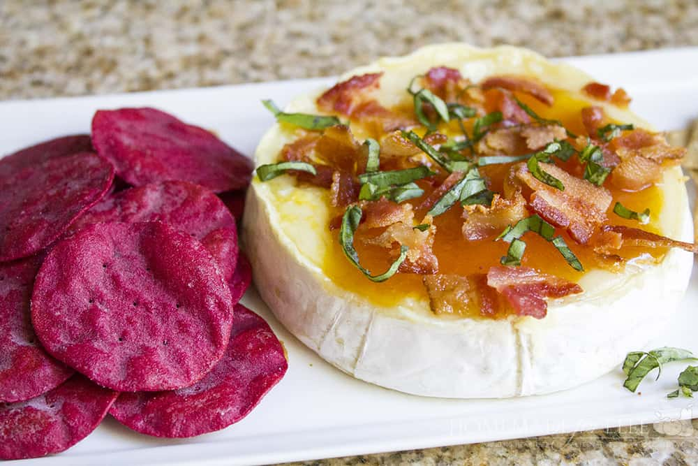 Peach Basil and Bacon Baked Brie