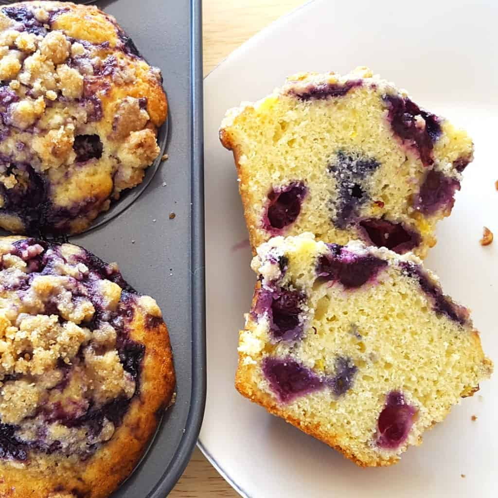 Blueberry Glaze Muffins with Streusel and Lemon Zest