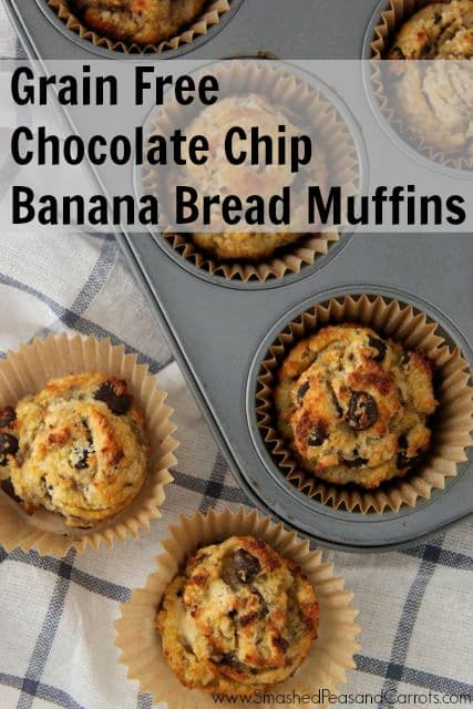 Grain Free Chocolate Chip Banana Bread Muffins